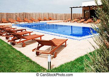 概念, ライフスタイル, 家, 現代, -, プール, 水泳