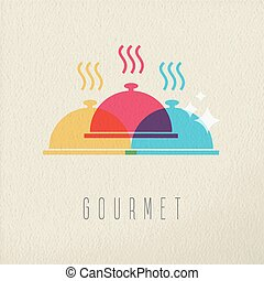 概念, レストラン, 食通, 食物, デザイン, 皿, 色