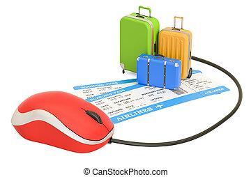 概念, レンダリング, スーツケース, 切符, オンラインで, 予約, 3d