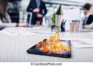 概念, ロケット, 始める, 会社, 始動, tablet., 準備ができた