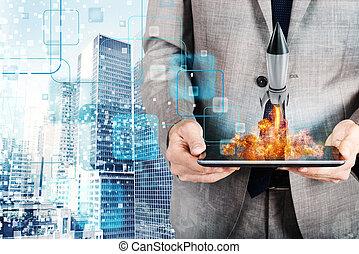 概念, ロケット, tablet., 会社, 始動, 発射, ビジネスマン