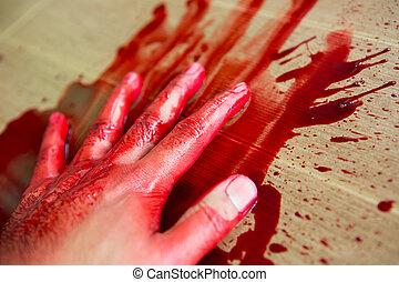 :, 概念, 万圣节前夜, 血液, 手