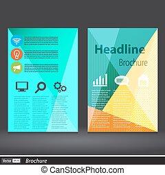 概念, 三角形, フライヤ, 抽象的, ライン, ベクトル, デザイン, a4, テンプレート, brochure., size.