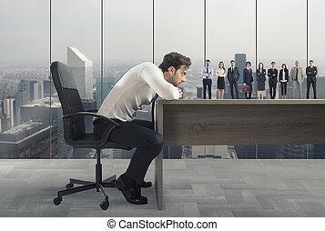 概念, 上司, workplace., 求人, 候補者, チーム, suitable, selects