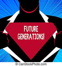 概念, 世代, テキスト, ブランク, スーパーマン, 暮らし, ワイシャツ, currently, 執筆, logo., generations., 彼の, 開始, ポーズを取りなさい, 三角, 意味, 来なさい, 後で, 人, 明らかにしなさい, 未来, 手書き, 世代