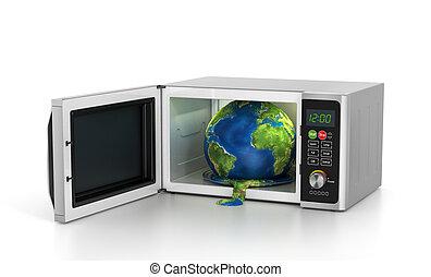 概念, 世界的である, -, イラスト, microwave., 地球, 暖まること, 3d