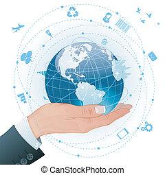 概念, 世界的である, -, ビジネス