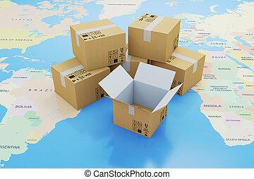 概念, 世界的である, 出荷, 出産, 箱, 地図, 世界, ボール紙, 3d