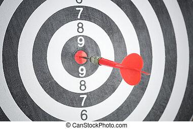 概念, 中心, ビジネス, ゴール, dartboard., 矢, 赤, success.