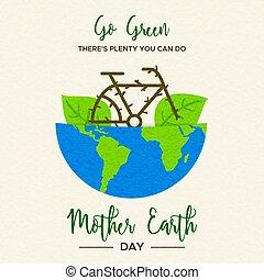概念, 中, 惑星, 自転車, 緑地球, 日