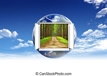 概念, 中, 考え, 表面, 環境, 窓, 地球, 開いた, 世界