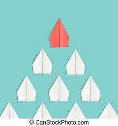 概念, 主要, 紙, white., 領導, 飛機, 紅色