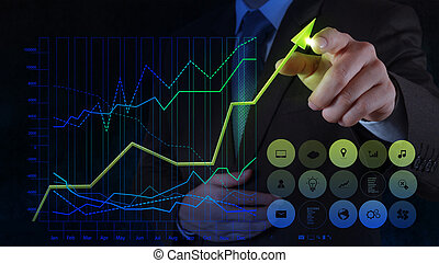 概念, 事務, 屏幕, 圖表, 實際上, 手, 電腦, 接觸, 商人, 圖畫