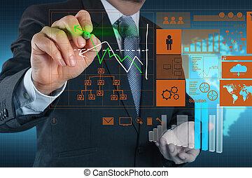 概念, 事務, 工作, 現代, 手, 電腦, 商人, 新, 戰略
