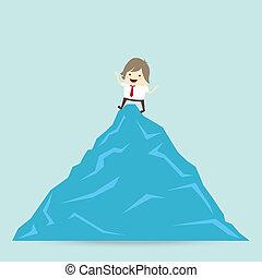 概念, 事務, 成功, 贏得, 完成, 商人, 山