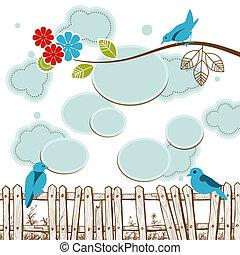 概念, 云霧, 媒介, 社會, 演說, tweeting, 氣泡, 鳥