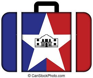 概念, 交通機関, san, 旅行, 旗, スーツケース, アイコン, テキサス, antonio, usa.