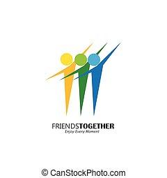 概念, 人々, ベクトル, 活発, ロゴ, 幸せ, 友人, 興奮させられた, アイコン