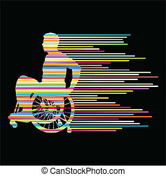 概念, 人々, ポスター, 車椅子, ストライプ, 不具, ベクトル, 背景, 作られた, 人