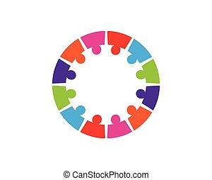 概念, 人々, 交渉, アイコン, -, コレクション, ベクトル, 円