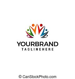 概念, 人々, 共同体, ベクトル, デザイン, テンプレート, ロゴ