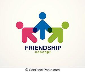概念, 人々, 単純である, design., 合併した, クルーチーム, 統一, チームワーク, 協力, 幾何学的,...