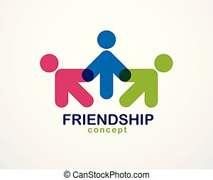 概念, 人々, 単純である, design., 合併した, クルーチーム, 統一, チームワーク, 協力, 幾何学的, ...