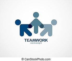 概念, 人々, 単純である, design., 青, 合併した, クルーチーム, 統一, チームワーク, 協力,...