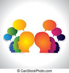 概念, 人々, 媒体, -, 談笑する, vector., 社会, 論じる
