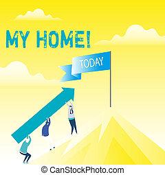 概念, 人々, 感じ, テキスト, 快適である, 棒, ブランク, peak., mountain., 暮らし, 料理, 行く, 保有物, あなた, home., 意味, 睡眠, 旗, の上, 場所, 缶, 矢, 手書き, 私