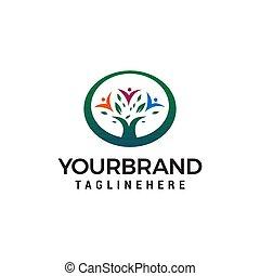 概念, 人々, 木, ベクトル, デザイン, テンプレート, ロゴ, 緑