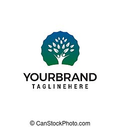 概念, 人々, 木, ベクトル, デザイン, テンプレート, ロゴ