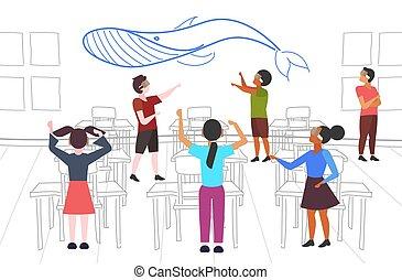 概念, 人々, 現代, vr, によって, 技術, クジラ, 青, ヘッドホン, グループ, バーチャルリアリティ, 見る, 混合, デジタル, 内部, 3d, 身に着けていること, 平ら, フルである, 生徒, 横, 教室, 長さ, レース, ビジョン, ガラス