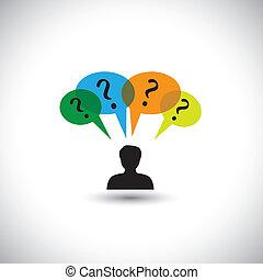 概念, 人们, 怀疑, &, 思想, -, unanswered, 同时, 演说, questions., 问题, 描述, 气泡, 人, 代表, 图表, 这, 许多, 想, 等等, 矢量, 询问