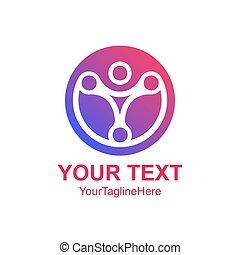 概念, 人間, 紫色, 抽象的, 創造的, ベクトル, デザイン, テンプレート, ロゴ, 技術, 円, 有色人種, element., アイコン