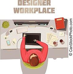 概念, 仕事場, デザイナー, 漫画