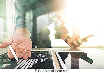 概念, 仕事, タブレット, 木製である, デジタル電話, コンピュータ, 机, ビジネスマン, 痛みなさい