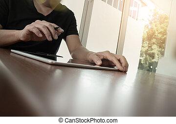 概念, 仕事, タブレット, 木製である, デジタル, コンピュータ, 机, ビジネスマン
