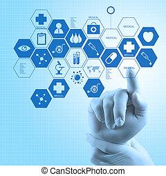 概念, 仕事, 医者, 医学, 現代, 手, 薬, コンピュータ, インターフェイス