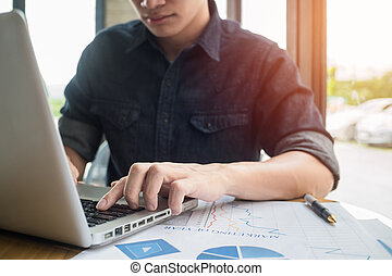概念, 仕事, 考え, ラップトップ, ビジネスマン, 使うこと