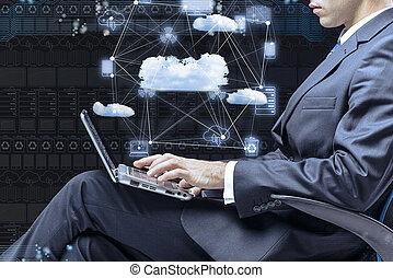 概念, 仕事, 計算, ラップトップ, ビジネスマン, 雲
