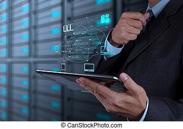 概念, 仕事, 計算, 手, 図, コンピュータ, ビジネスマン, インターフェイス, 新しい, 雲