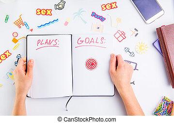 概念, 仕事, pushpin, アイコン, 個人的, 手, achievements., 矢, 行動, 見出し, 計画, ゴール, 女性, 保有物, アイコン, 組織者, place., ターゲット, 他, 計画