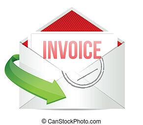 概念, 代表, 電子郵件, 發票
