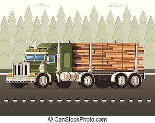 概念, 伐採, 木, トラック, 材木, 収穫する