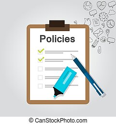 概念, 会社, リスト, 規則, クリップボード, policies, 文書