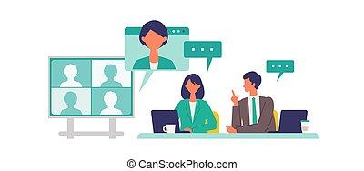 概念, 会議, concept., 会議, teleconference., 持つこと, ベクトル, イラストビジネス, 人々, boardroom.