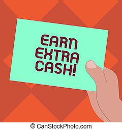 概念, 余分, 色, お金, photo., ペーパー, ブランク, ボール紙, 付加的, incomes, 作りなさい, 収入, 執筆, 保有物, テキスト, 引かれる, もっと, ボーナス, 胡, 現金。, 意味, 手, 得なさい, 利益, 分析, 提出すること, 手書き