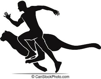 概念, 侧面影象, 快, 跑, 猎豹, 速度, 人