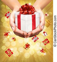 概念, 保有物, ギフトの 提供, boxes., プレゼント。, 背景, 手, 休日